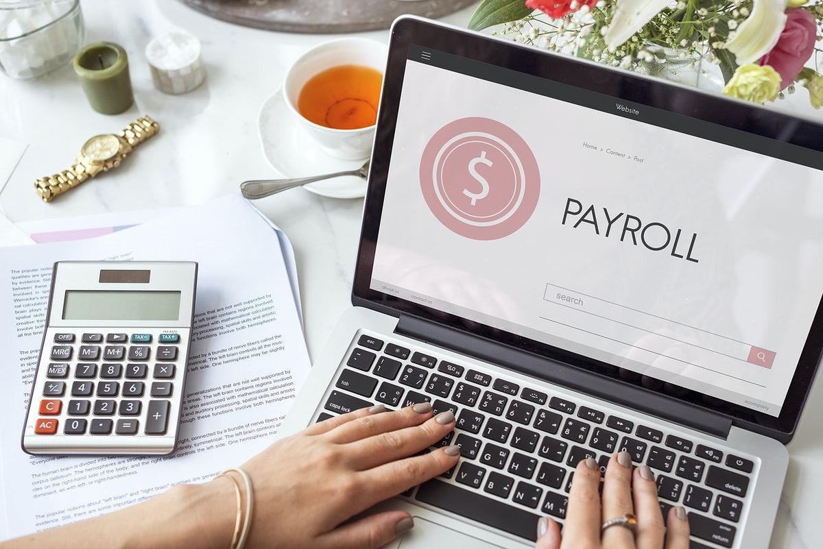 Payroll on the laptop screen